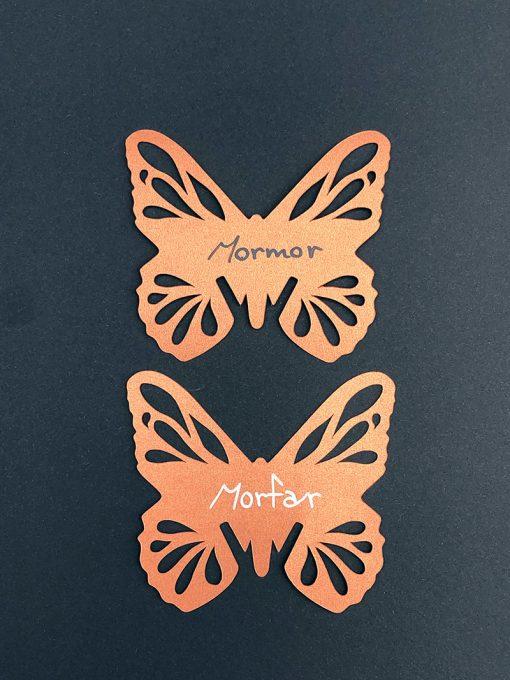 Sommerfugl bordkort til kobberbryllup
