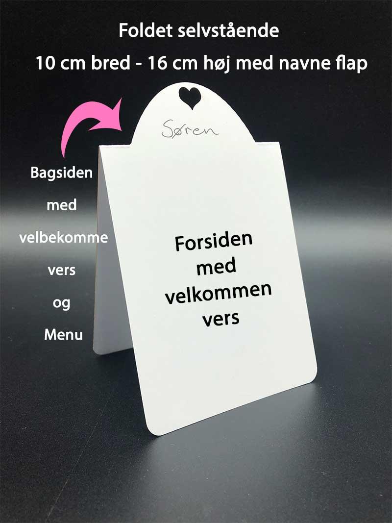 Foldet bordkort med vers og menu